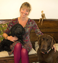 Sam Toft with her lovely dogs, Moses and Stanley Philpot!