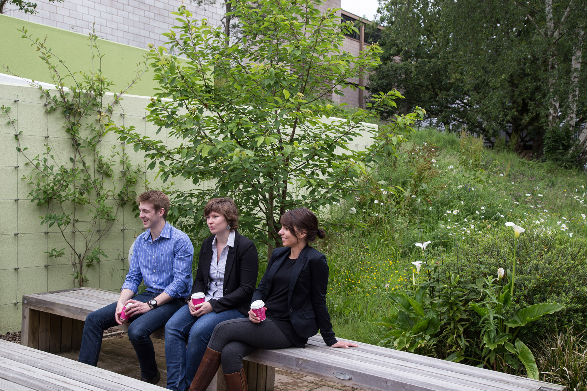 Outside the LRC is a place to relax and catch up with classmates