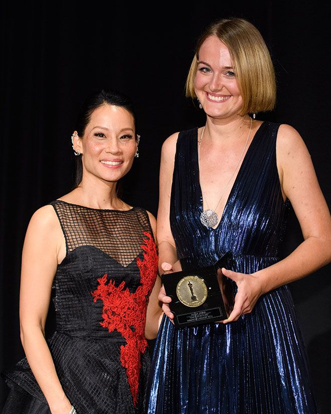Picture of Alicja Jasina with actress Lucy Liu
