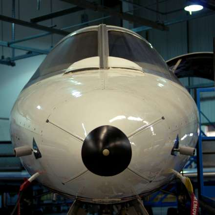 Learjet in hangar