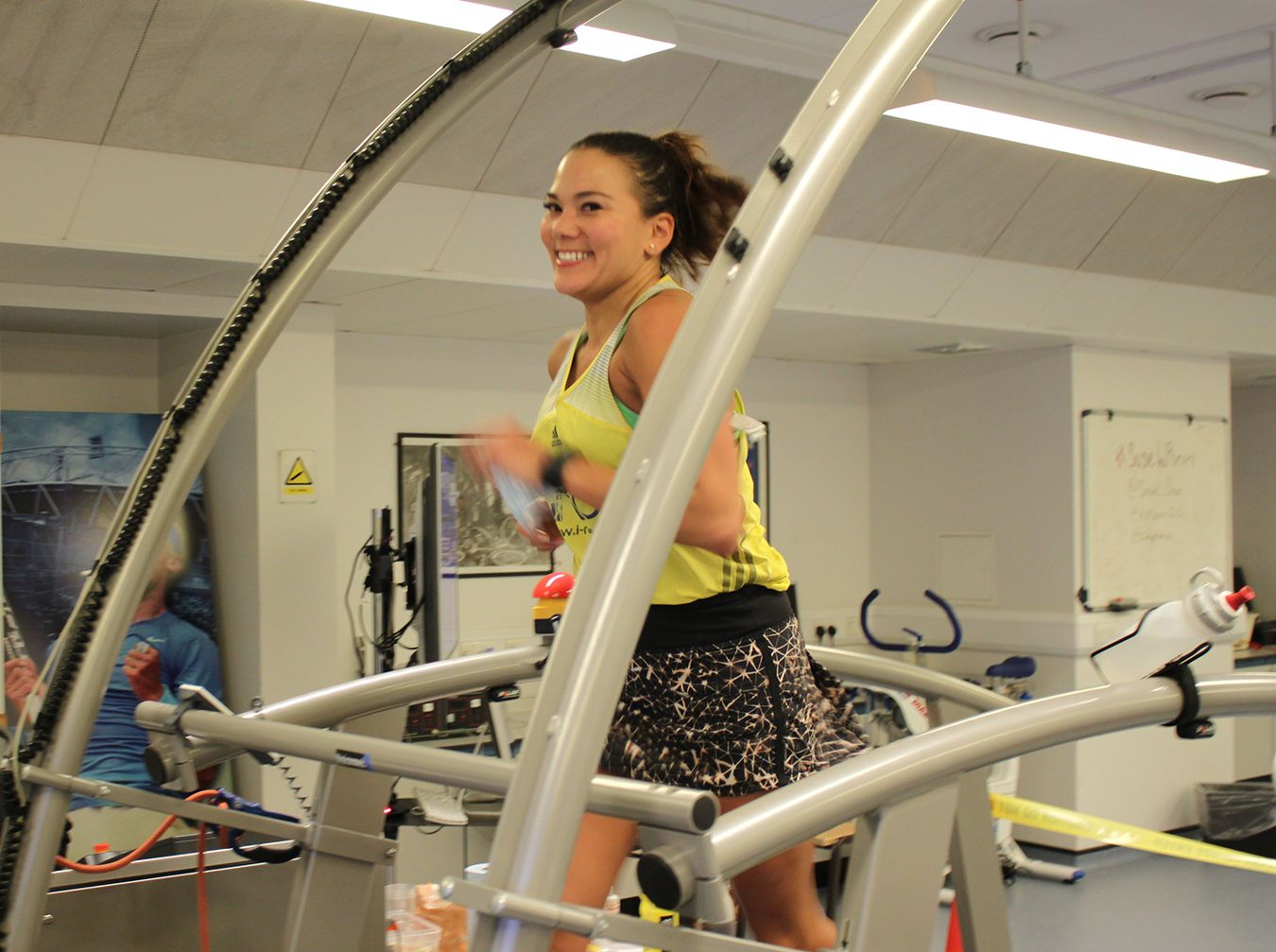 an image of ultr-runner Susie Chan on a treadmill