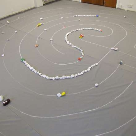 Prayer Labyrinth set up in quiet room for an event