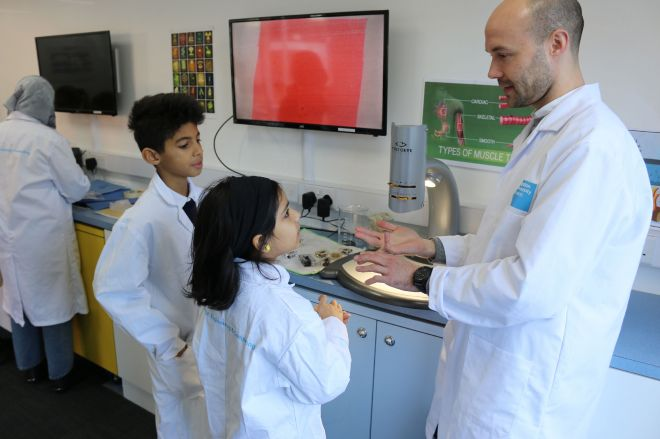 Pupils working in the lab