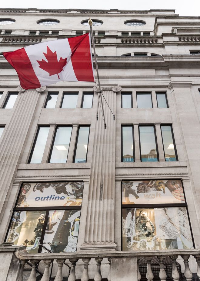 Fashion students joined forces with the High Commission of Canada last year to create and display sustainable sculptures in the windows of Canada House