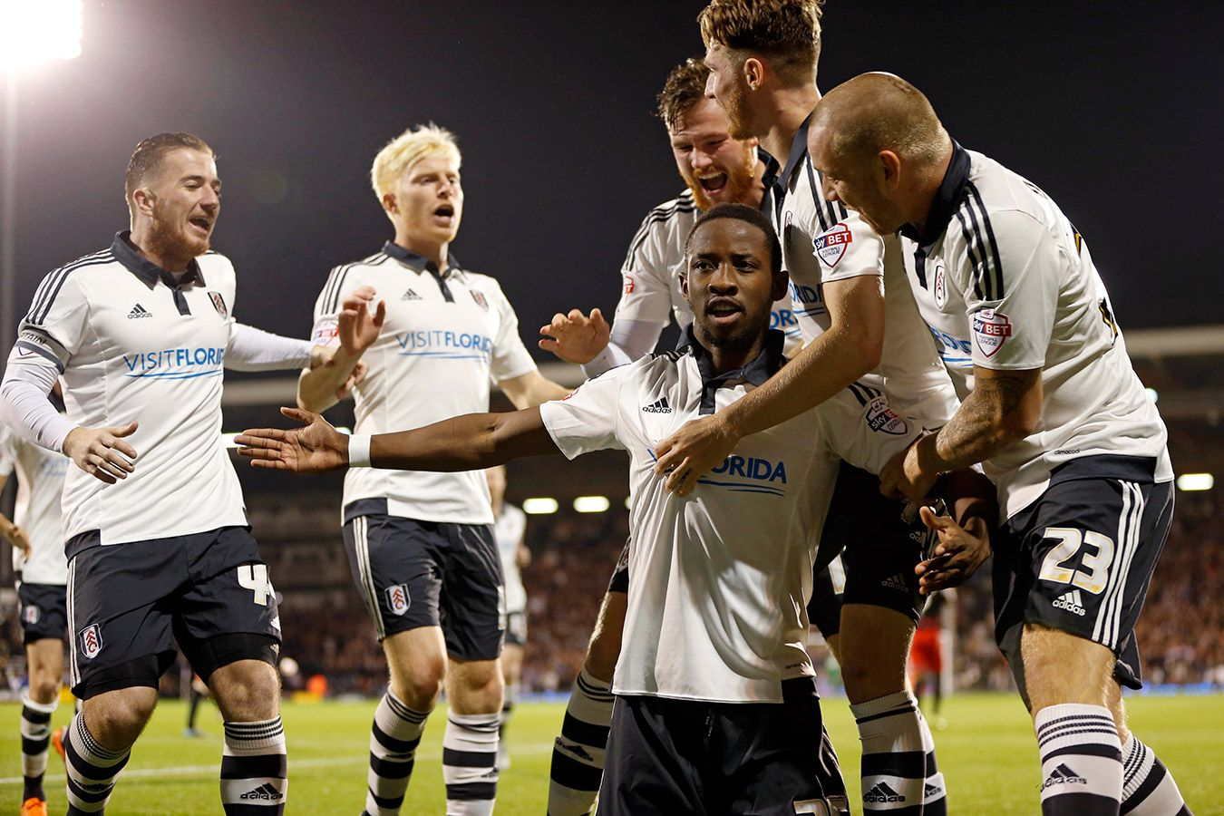 Fulham players celebrating scoring a goal. Photo: Backpage Images