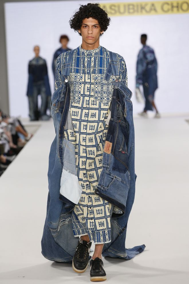 One of Kasubika Chola's stunning garments on the catwalk at London's Old Truman Brewery during Graduate Fashion Week.