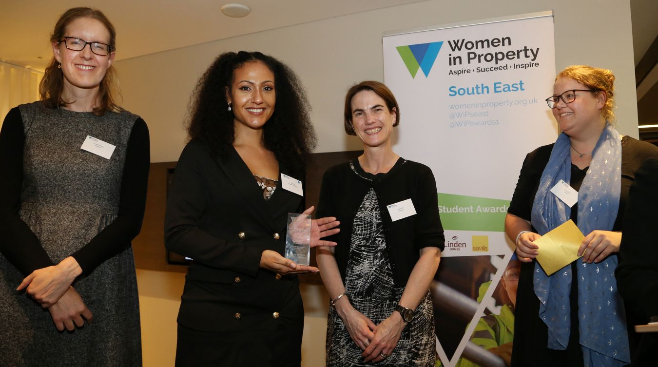 Lily Dixon (second left) with, left to right, chair of the south east branch of Women in Property and senior associate at Cripps LLP Freddie Jackson, Bouygues UK legal director Carole Ditty and Vicky Gunn, associate director at Savills.
