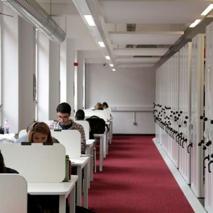 Quiet study areas in the LRC are well-lit and spacious