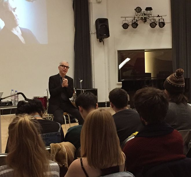 Music producer Tony Visconti shares his experiences of music production with students at Kingston University