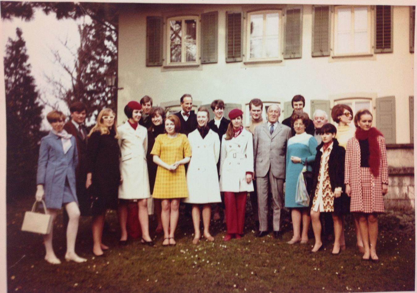 Kingston College of Art's Head of Fashion, Daphne Brooker, centre front, poses with her students during a visit to Bally's Shoe Factory Museum in Schoenwerd, Switzerland, in March 1966. Photo: Kingston University Special Collections.