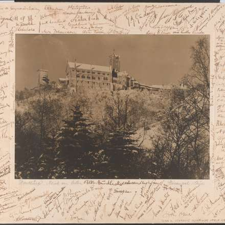 Photograph of Wartburg Castle, Germany, with the mount signed by 123 athletes and visitors to the Berlin 1936 Olympic Games from the Vane Ivanovic Library and Archive