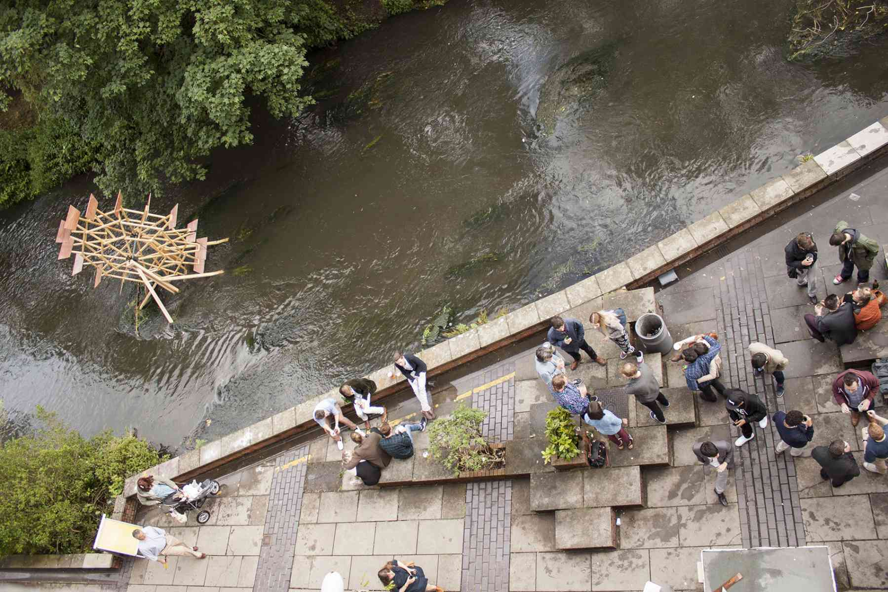 Live architecture project in situ in the Hogsmill River - Kingston School of Art, Knights Park
