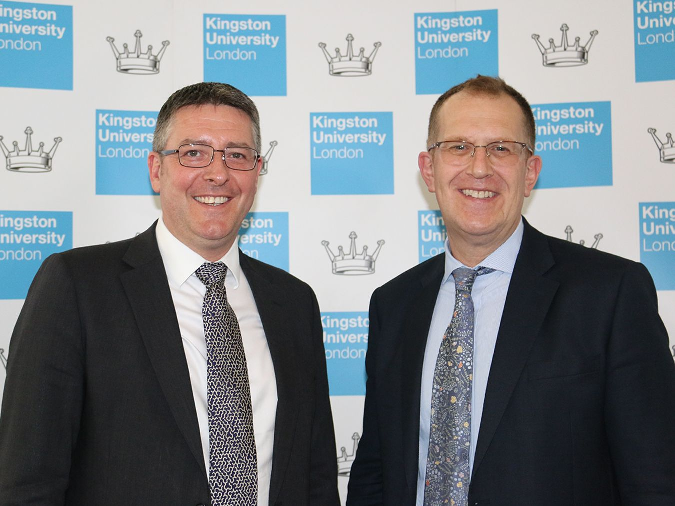 An image of Matt Hutnell of Santander Universities and Acting Vice-Chancellor Professor Steven Spier