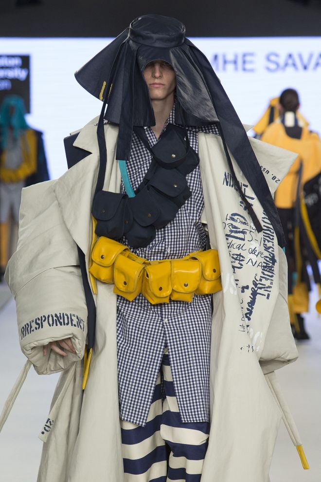 Designer Caoimhe Savage won the menswear prize at this year\'s Graduate Fashion Week