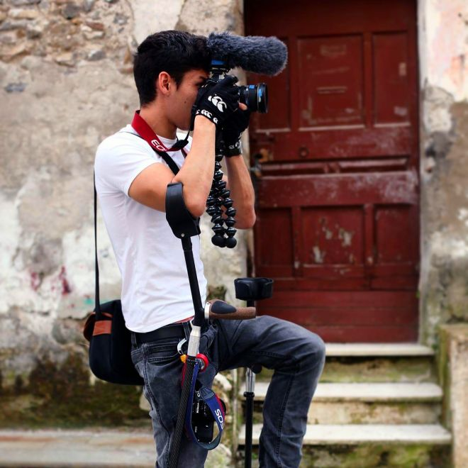 Photo of Oliver Lam-Watson filming.