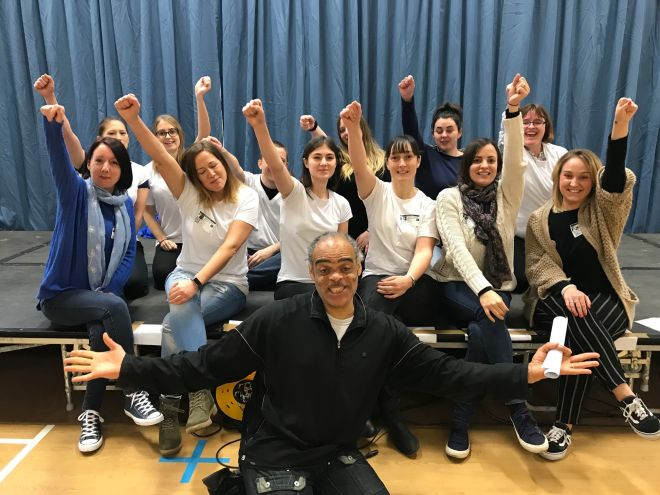 Kingston University\'s student nurses with StoryAID director Eli Anderson