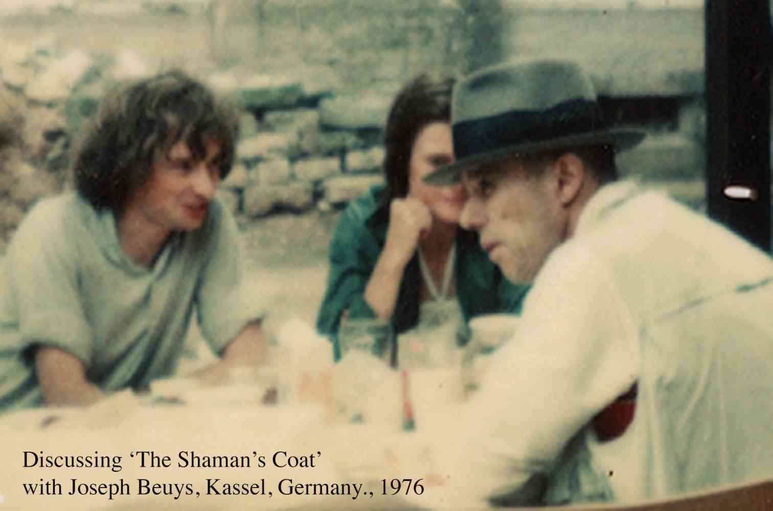 Historic discussion with Joseph Beuys  during exhibition, Kasel Germany - During my part of the Documenta exhibition collaborated with Joseph Beuys on a new work 'The Shaman's Coat'