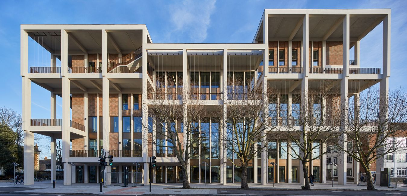 The six storey structure opened in January was designed by RIBA Gold Medal-winning Grafton Architects and built by three-time Education Constructor of the Year winner Willmott Dixon. Picture credit Ed Reeve