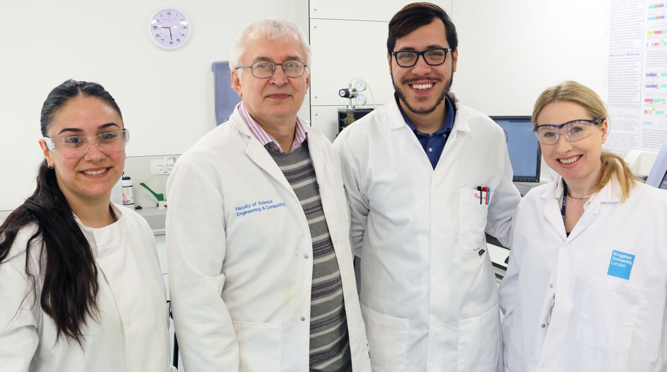 Professor Andrey Karlyshev (second left) and Dr Ruth Griffin (far right) with Masters student Cansu Karyal and PhD student Ronni Da Silva, who have both been involved in the research into bacterial meningitis,