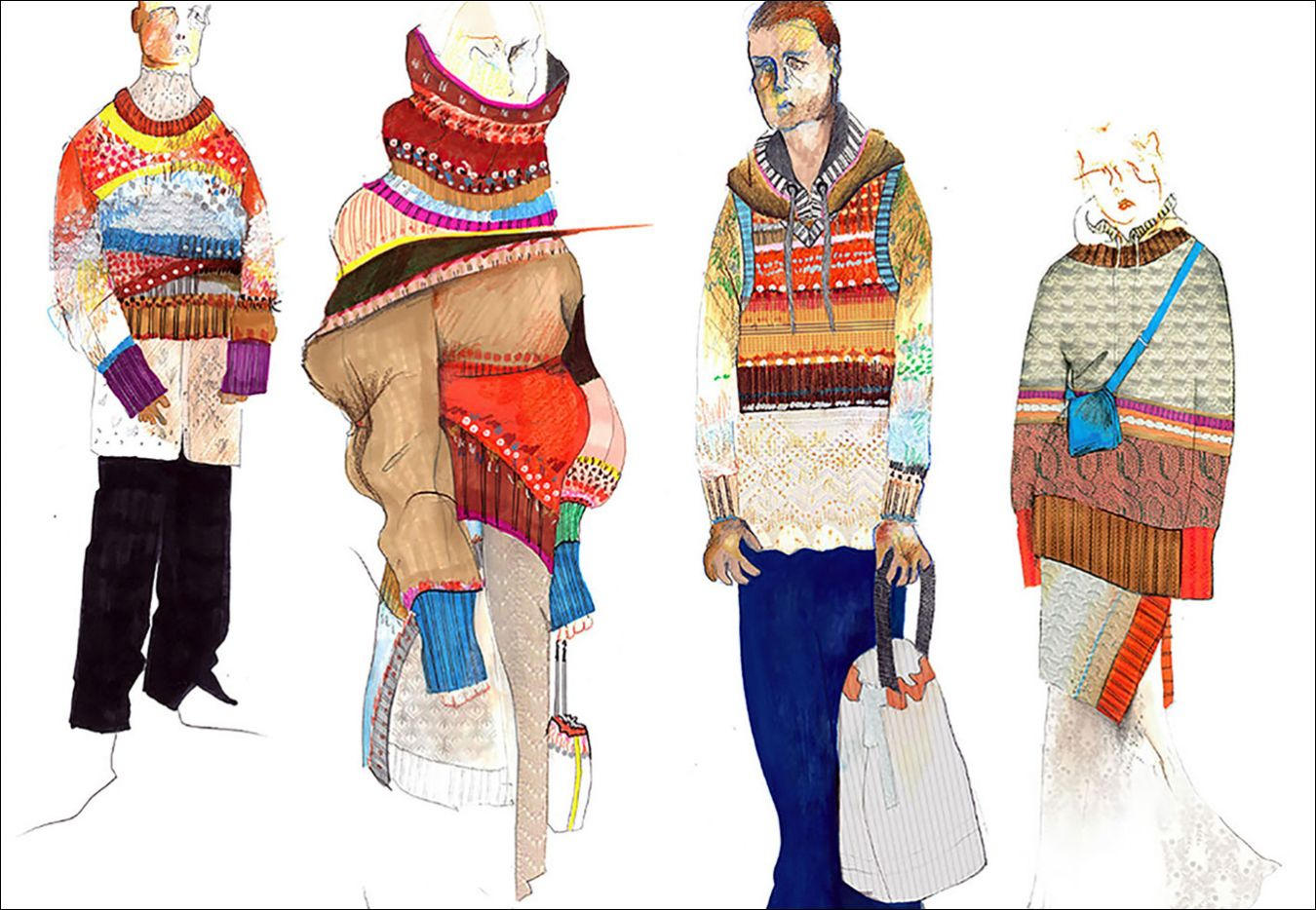 BA (Hons) Fashion student Nandita Shah used bold colours for the knitwear designs in her final collection. Kingston School of Art places emphasis on strong illustration skills.