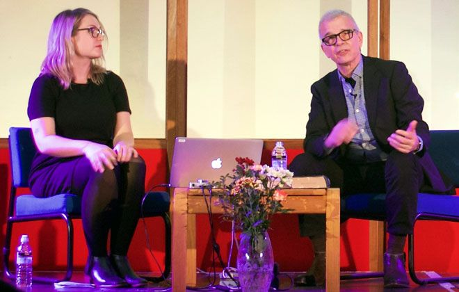 Tony Visconti at Kingston University with Dr Leah Kardos
