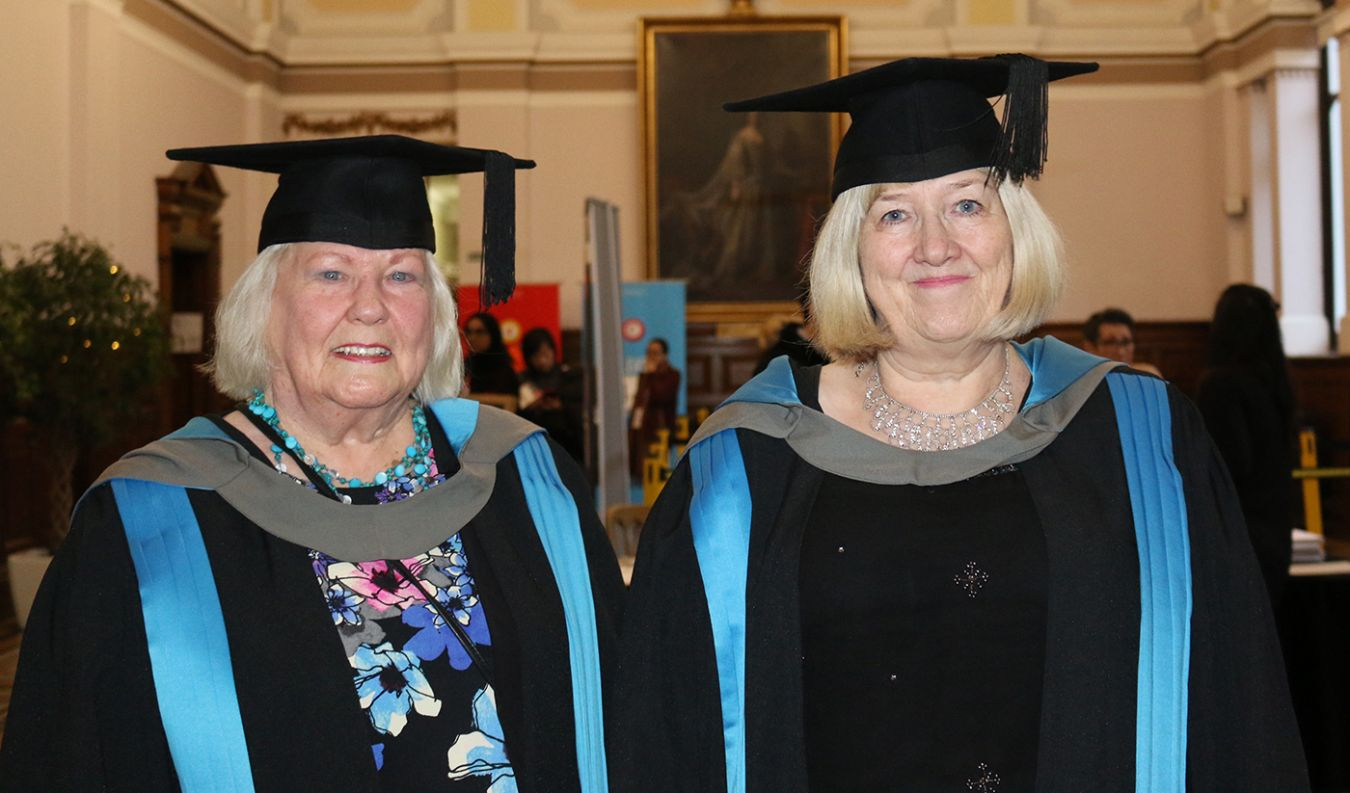 Hilary Chalkly with her friend Carol Marshall at Kingston University graduation ceremony