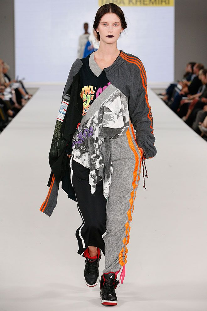 Tara Khemiri's womenswear collection debuted on the catwalk at Kingston University's Graduate Fashion Week show.