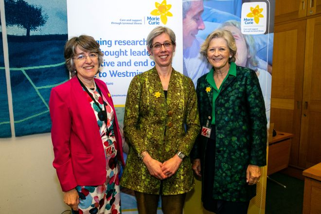 Professor Irene Tuffrey-Wijne (centre) was joined by Baroness Finlay of Llandaff (left) and Baroness Hollins (right) at the Marie Curie lecture.