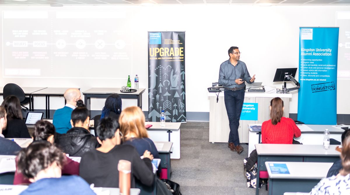 'Whether you think you can, or think you can't, you're right.' Kingston University alumnus Azmat Ali hosts inspirational Upgrade Masterclass on developing a growth mindset