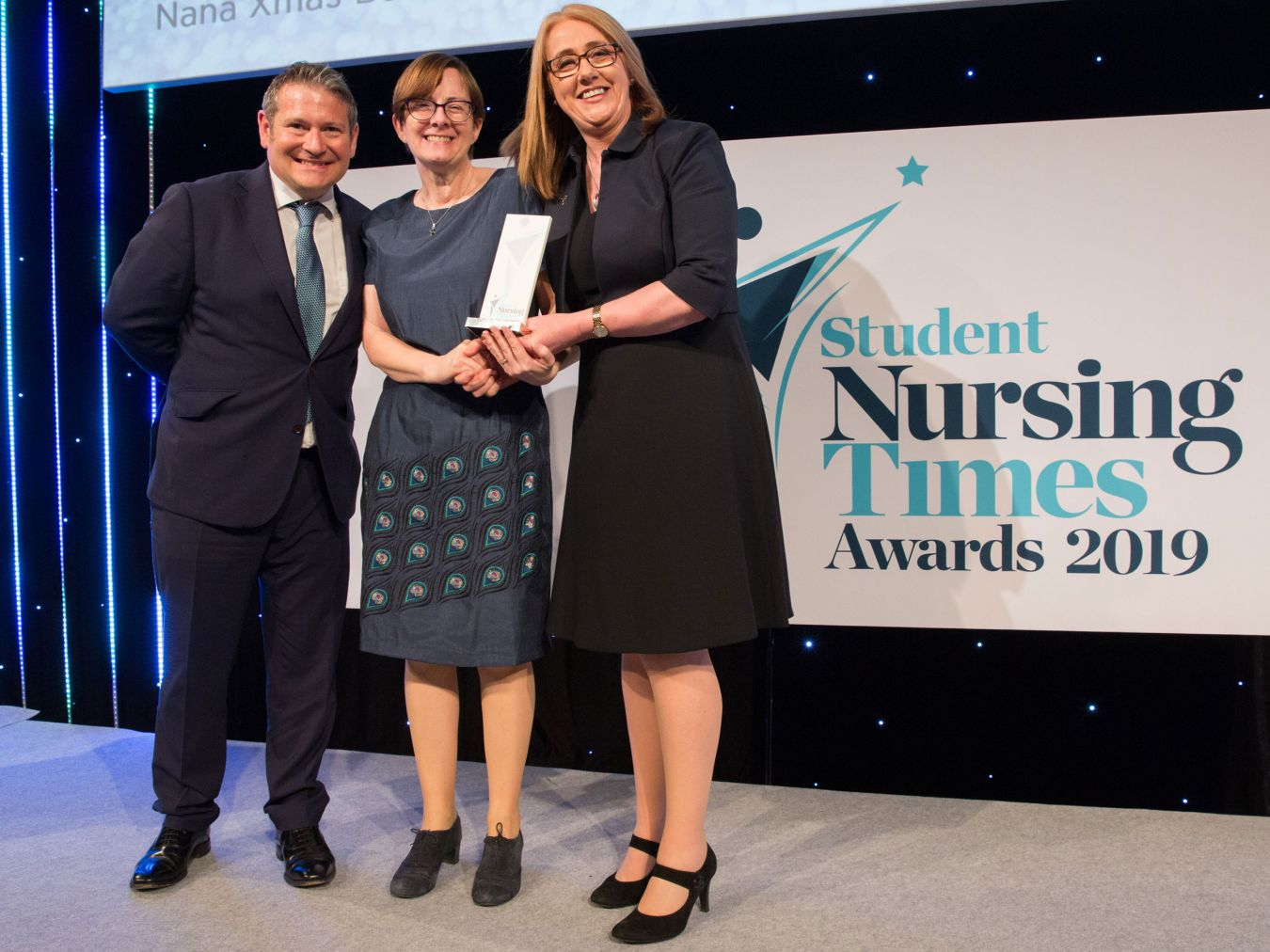 Nursing associate professor Theresa Nash (centre) picked up the Teaching Innovation of the Year Award