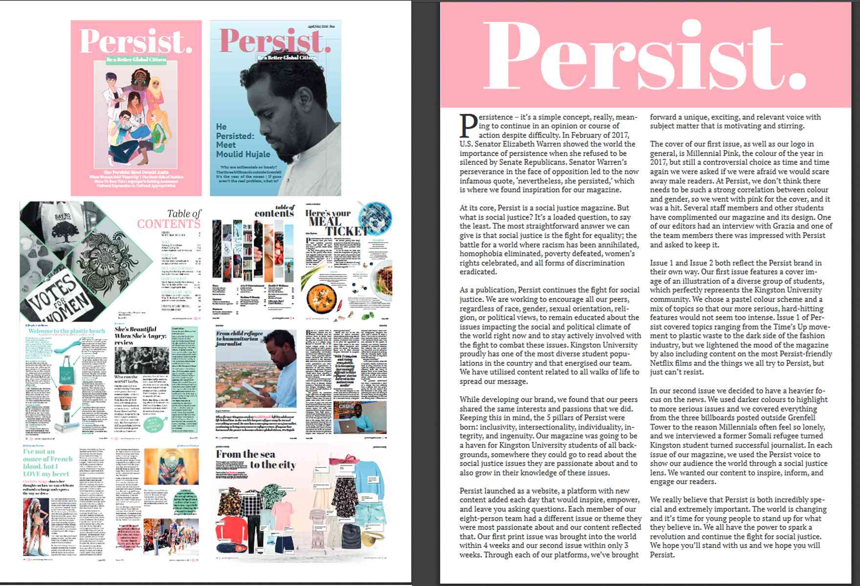 Persist magazine spreads