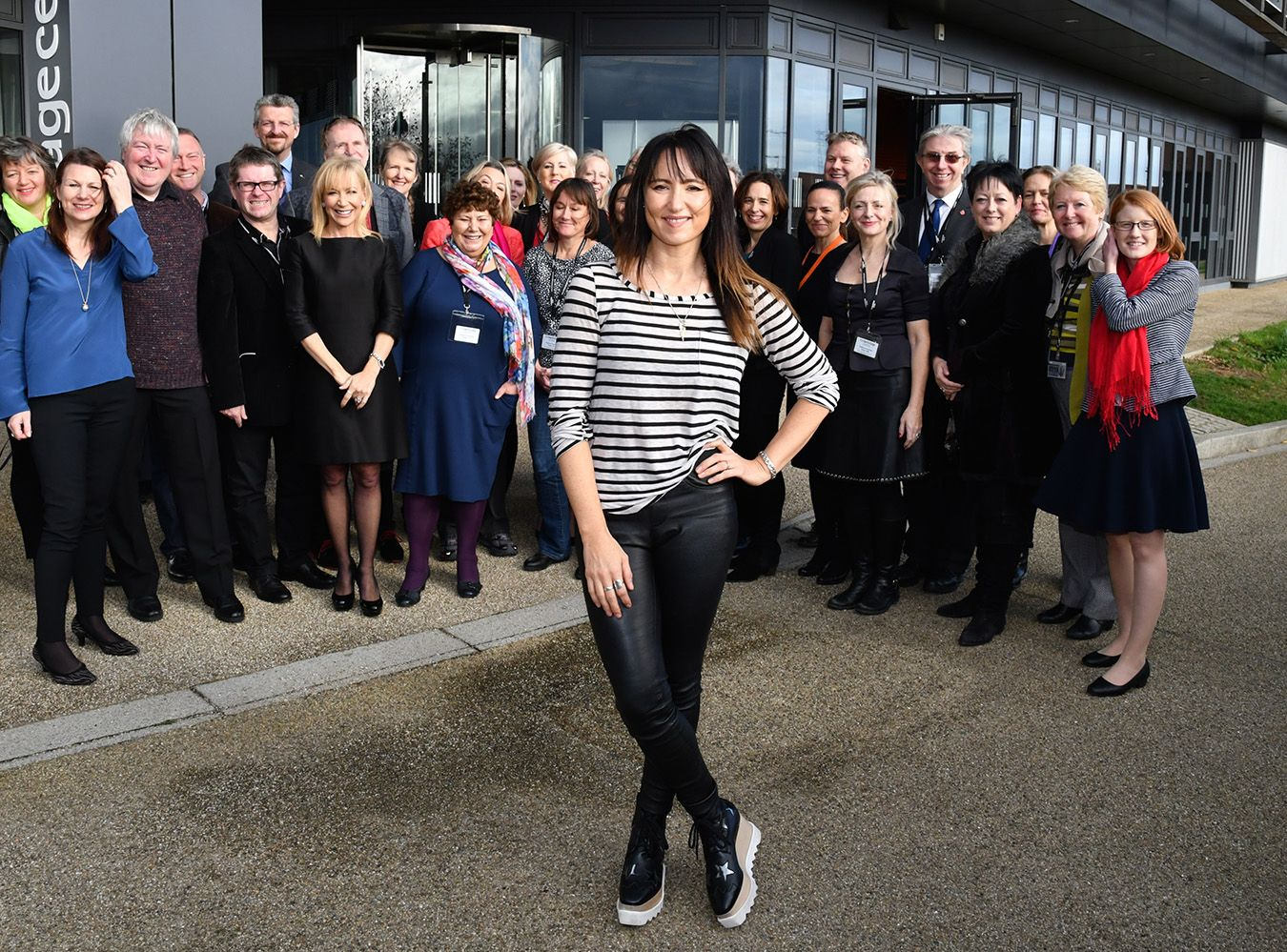 KT Tunstall poses with members of the Friends of Jo Cox choir outside the recording studio