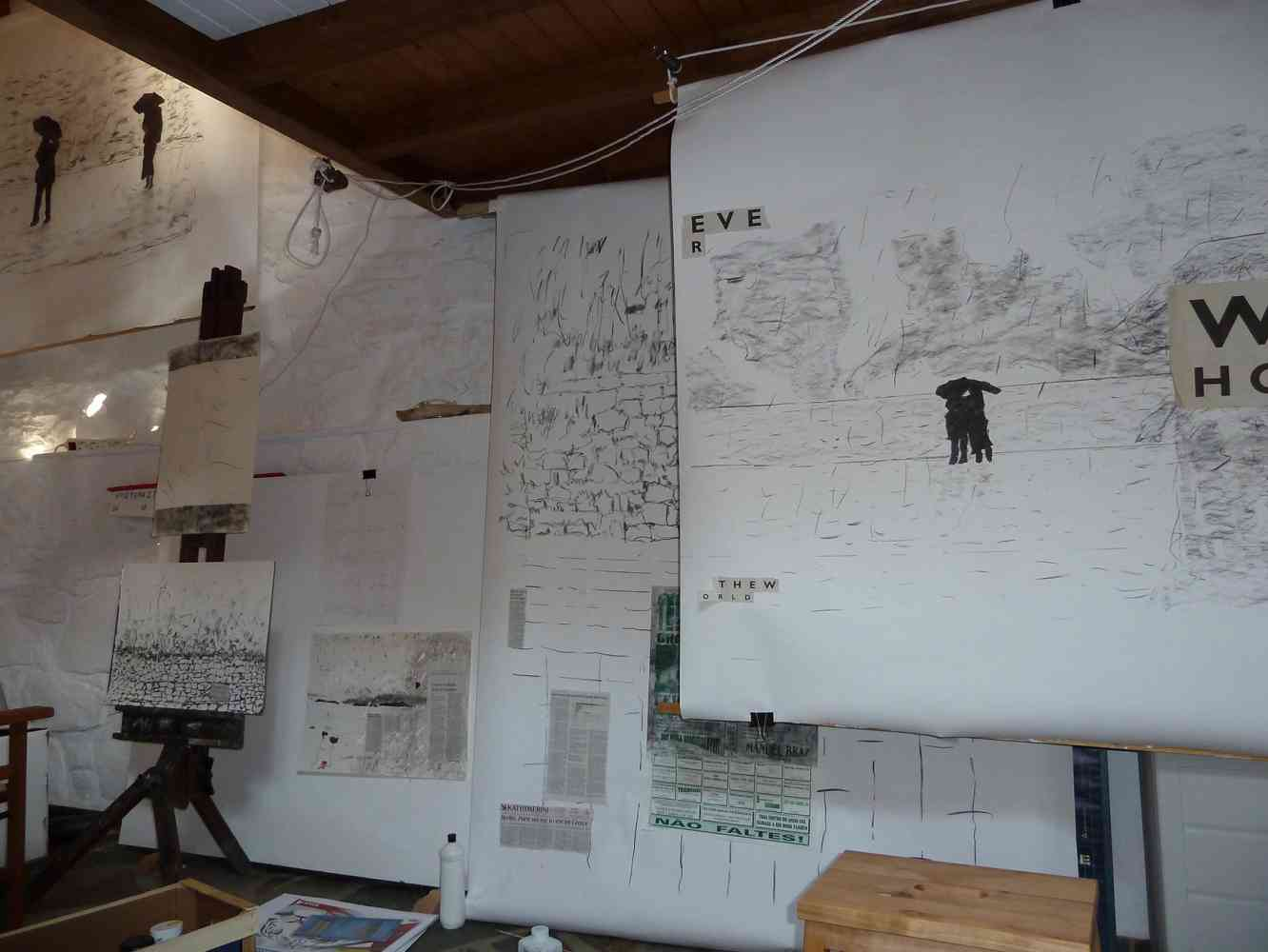 Studio as basis of all projects and ideas:   (Action develops Thought) - Shot of my drawing studio in Greece... Exploring visual ideas for a feature film 'The Immortal Mortal'