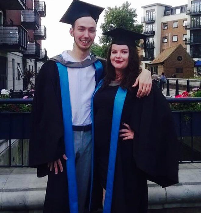 First Class Honours graduates and writer and director of Sticks and Stones, Scott Ferguson and Megan Blythin.