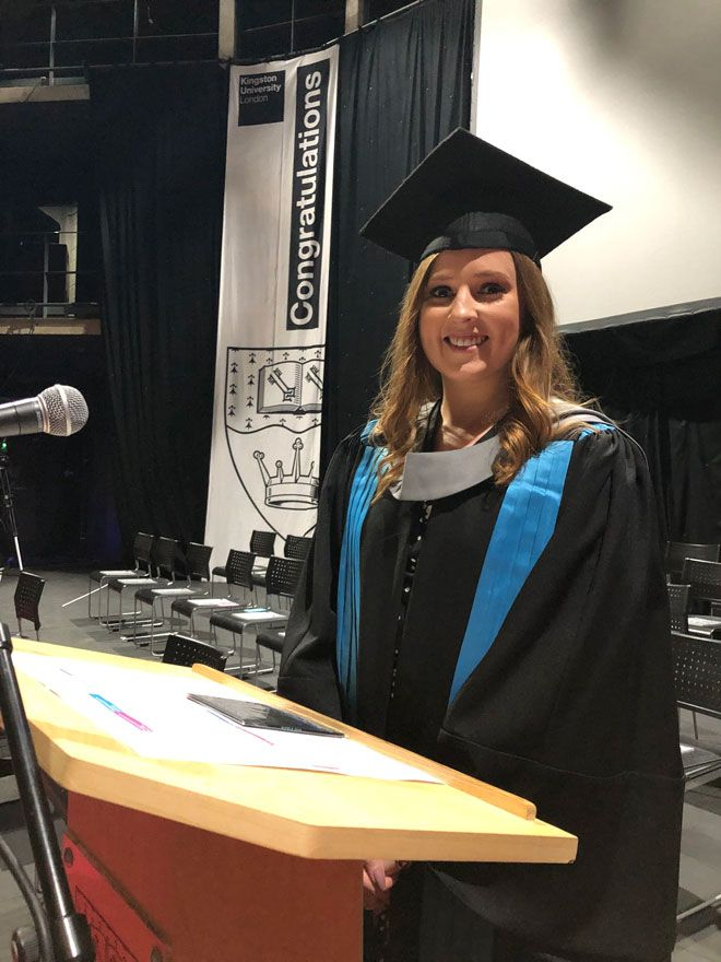 MA Publishing student Ciara Starrett gave the vote of thanks at the Kingston School of Art graduation ceremony