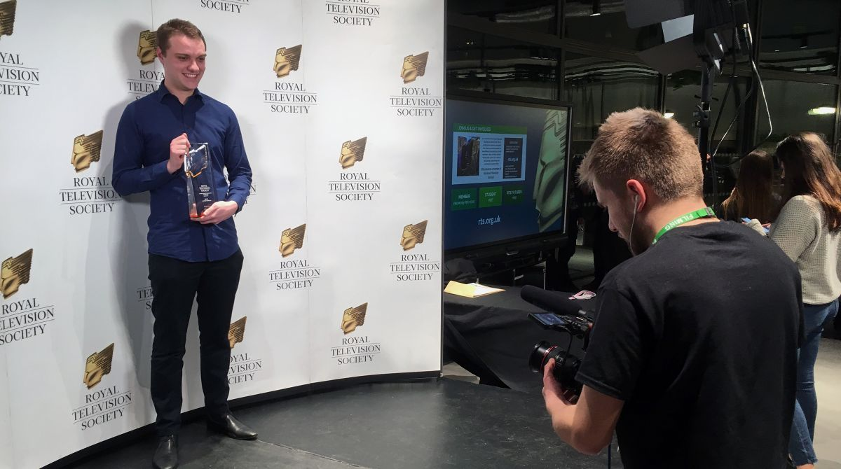 Illustration animation graduate collects gong at Royal Television Society regional student awards