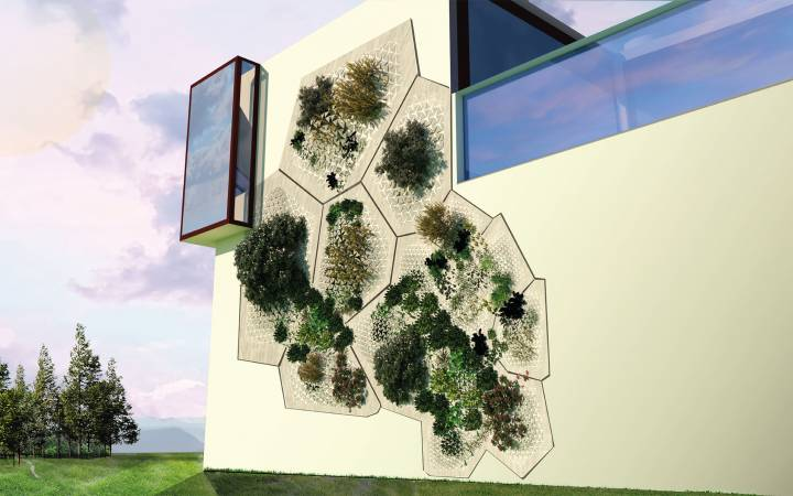 Kingston University product and furniture design graduate's modular wall planter in full bloom at London Design Festival