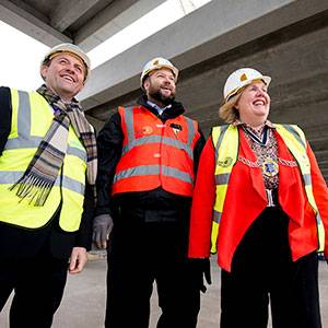 Kingston Mayor Councillor Julie Pickering joins borough residents to see how Kingston University's landmark Town House building is taking shape