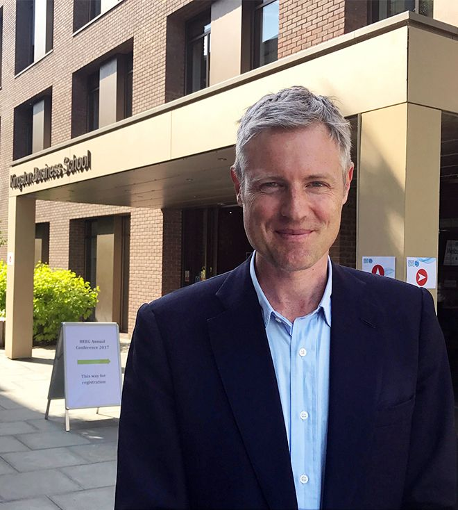 An image of MP Zac Goldsmith in front of Kingston Business School