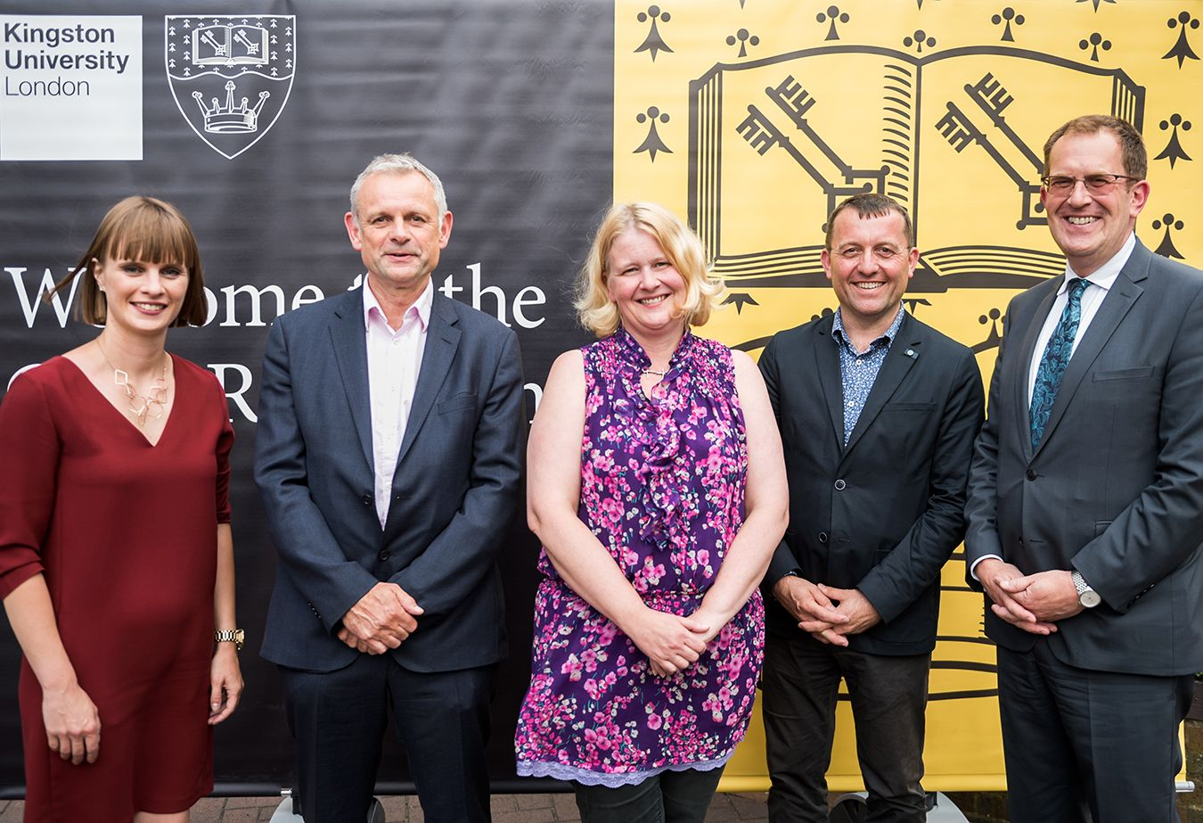(left to right) Kingston First chief executive Kirsten Henly, Deputy chief executive of Kingston Council Roy Thompson, Council leader Councillor Liz Green, Pro Vice-Chancellor for Culture and Public Engagement Professor Colin Rhodes and University Vice-Chancellor Professor Steven Spier.