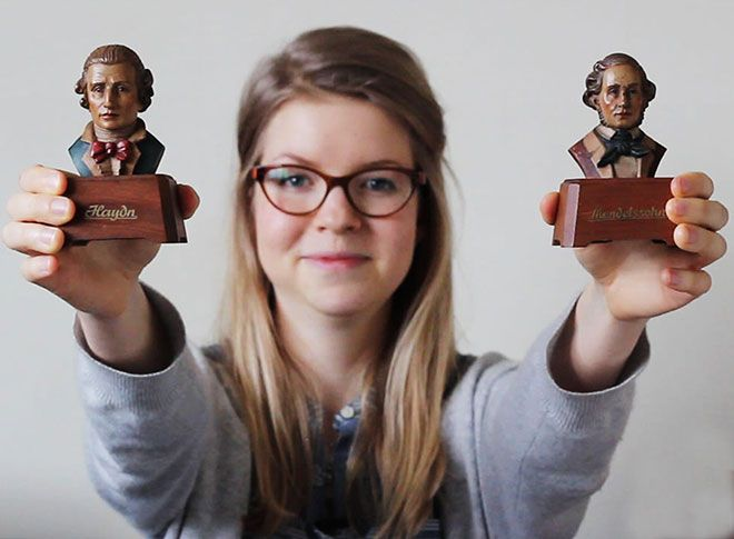 Florence Kennard with the mini busts of composers from her Automatic Dreams film about music boxes.