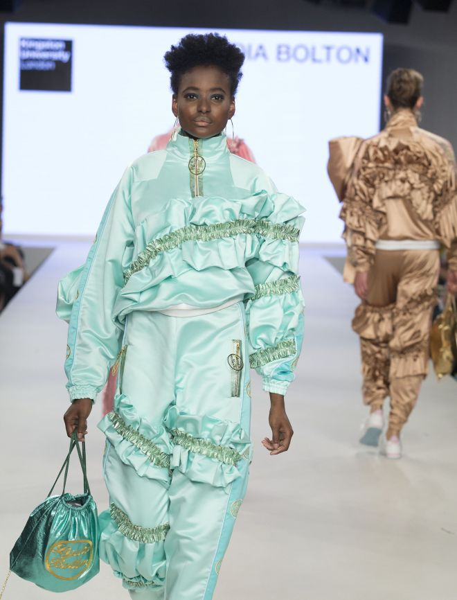 One of Lydia Bolton's designs on the catwalk at Graduate Fashion Week