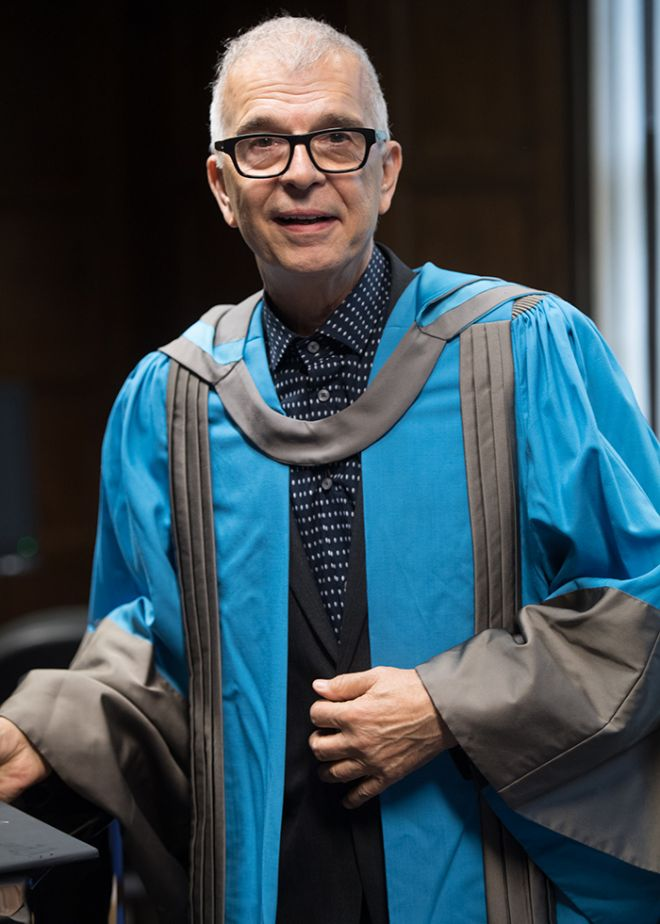 Music producer Tony Visconti received an Honorary Doctor of Arts at the launch of Visconti Studio at Kingston University