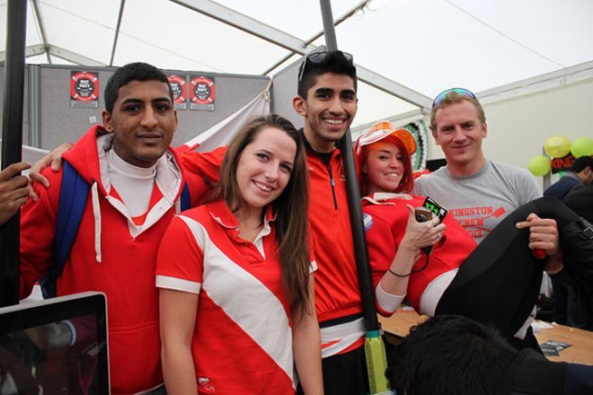 Students from the rowing club at Freshers\' Fayre