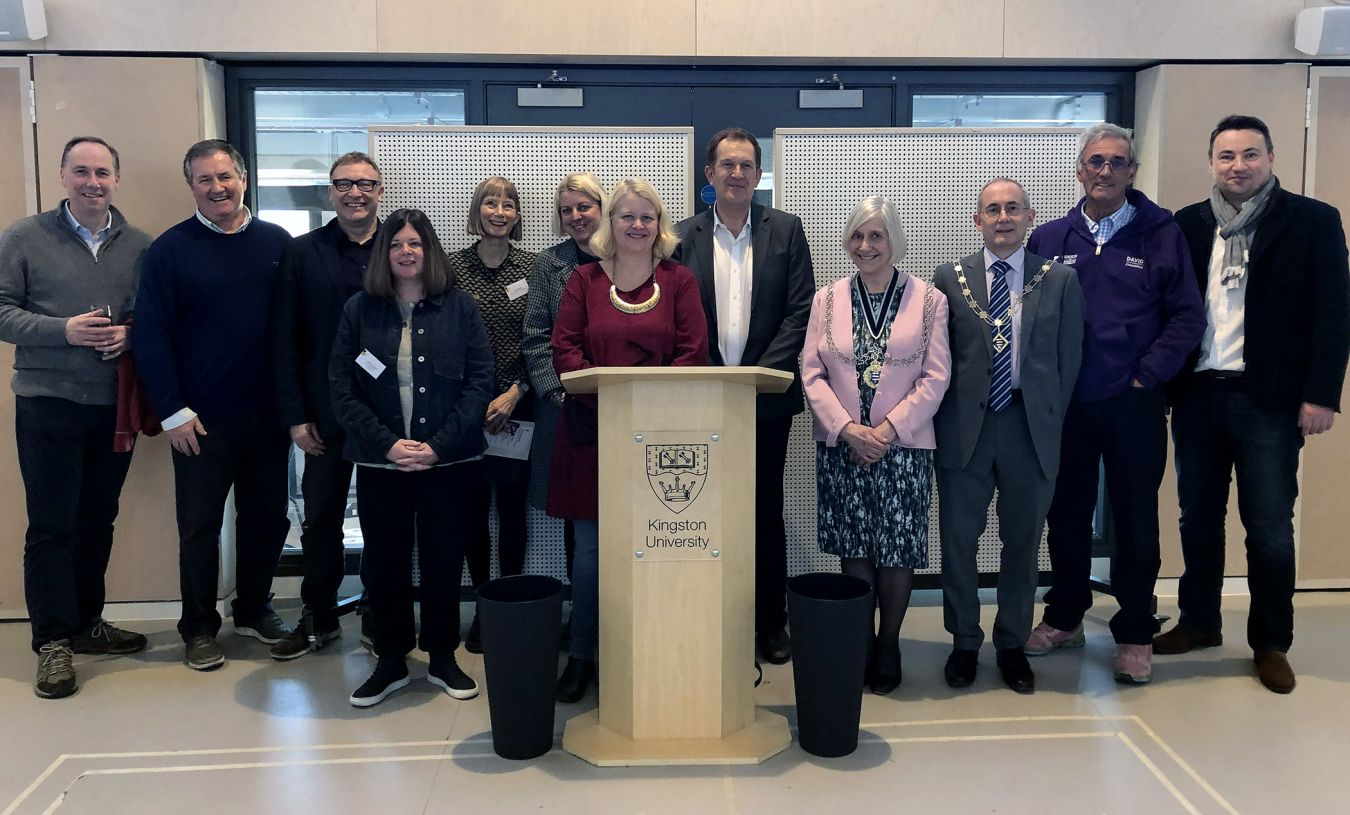 Guests were invited to the atrium space on the fourth floor to hear speeches from the University's Vice-Chancellor, Interim Dean of Kingston School of Art, the Mayor of the Royal Borough of Kingston upon Thames, Margaret Thompson, and Council Leader Liz Green.
