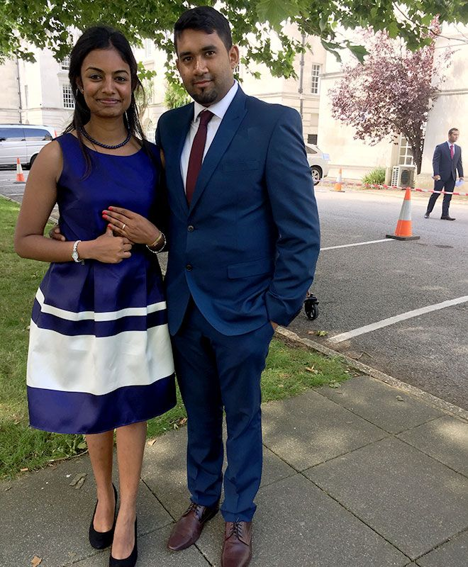 Teshnee Beeharry with fiance Yadhav outside Surrey County Hall