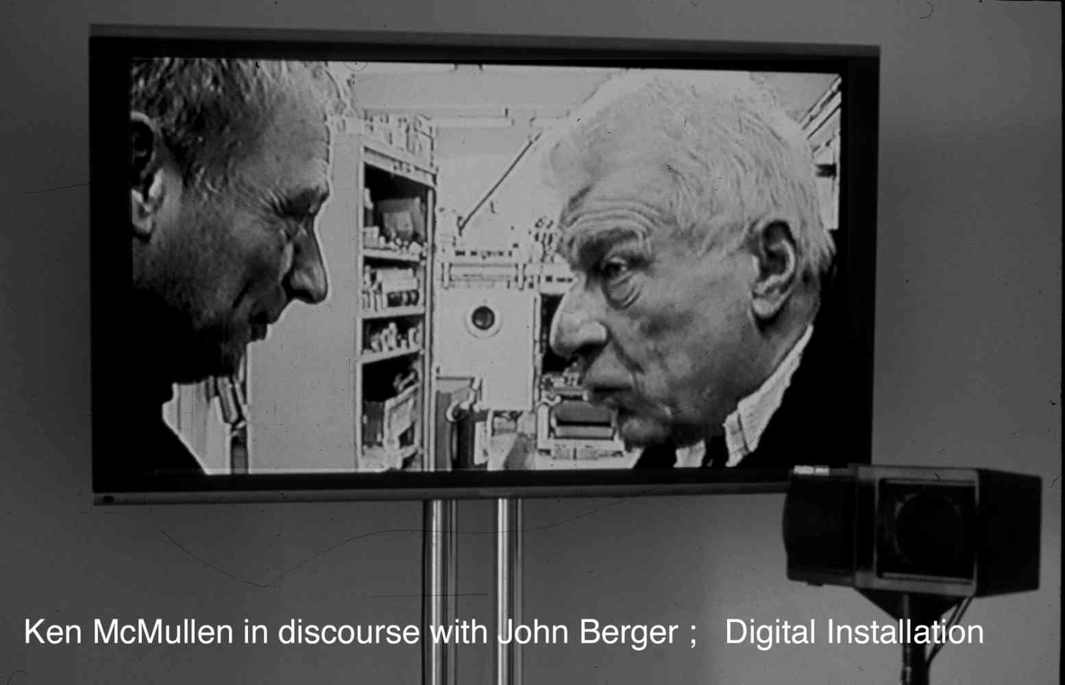 Gallery Installation. 60 mins continuous loop:   Atlantis Gallery London... (Research) - Documentary with John Berger 'The validity of Research in Art and Science'