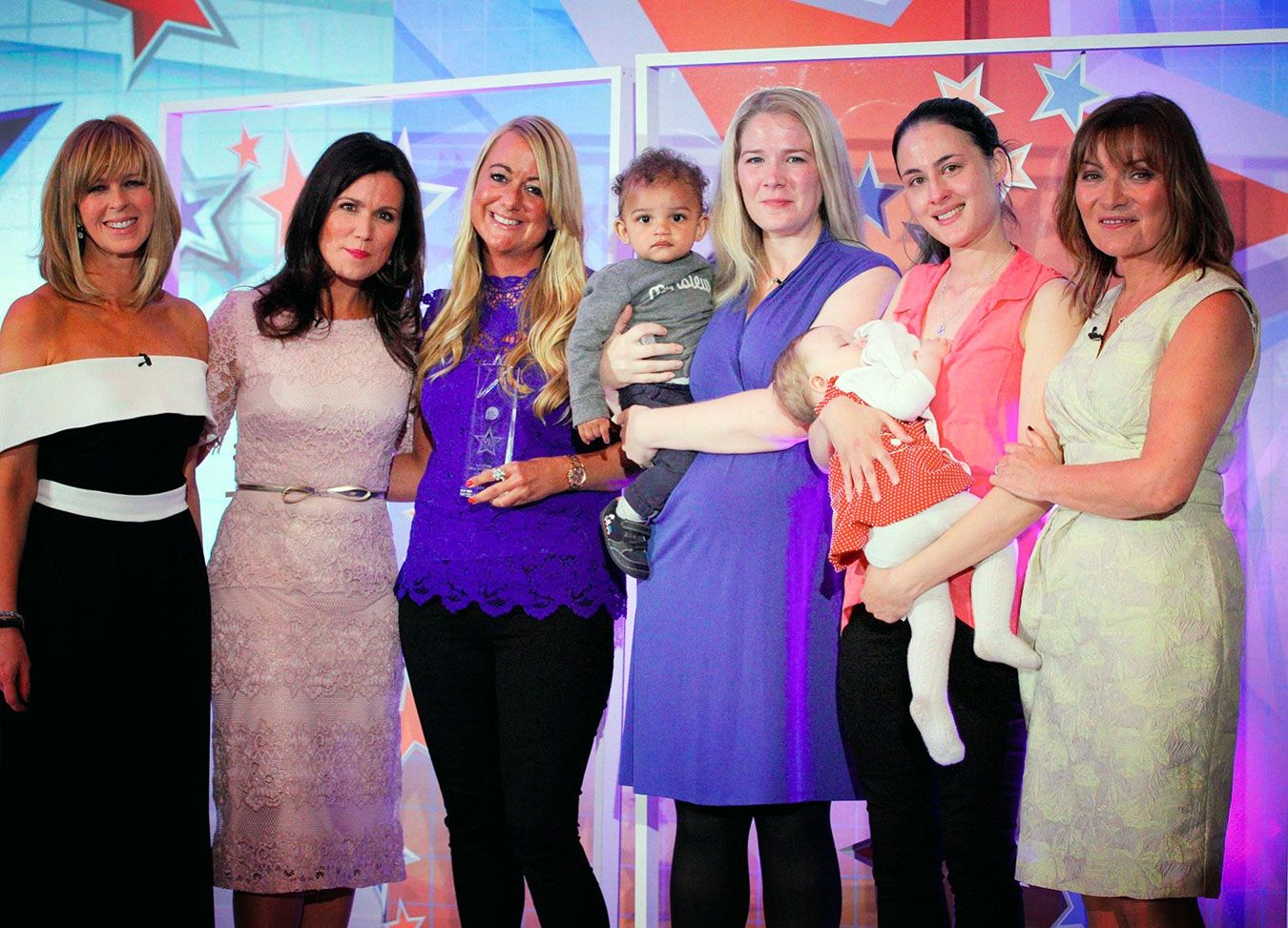 Lydia with the hosts of Good Morning Britain and mothers who nominated her for the Health Star Award