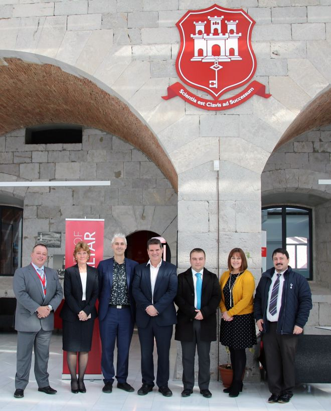 Head of Kingston's School of Education Marcus Bhargava (third from left) and Director of learning and teaching at Kingston University Daryl Maisey (Second from right) have helped launch the University of Gibraltar's first PGCE degree