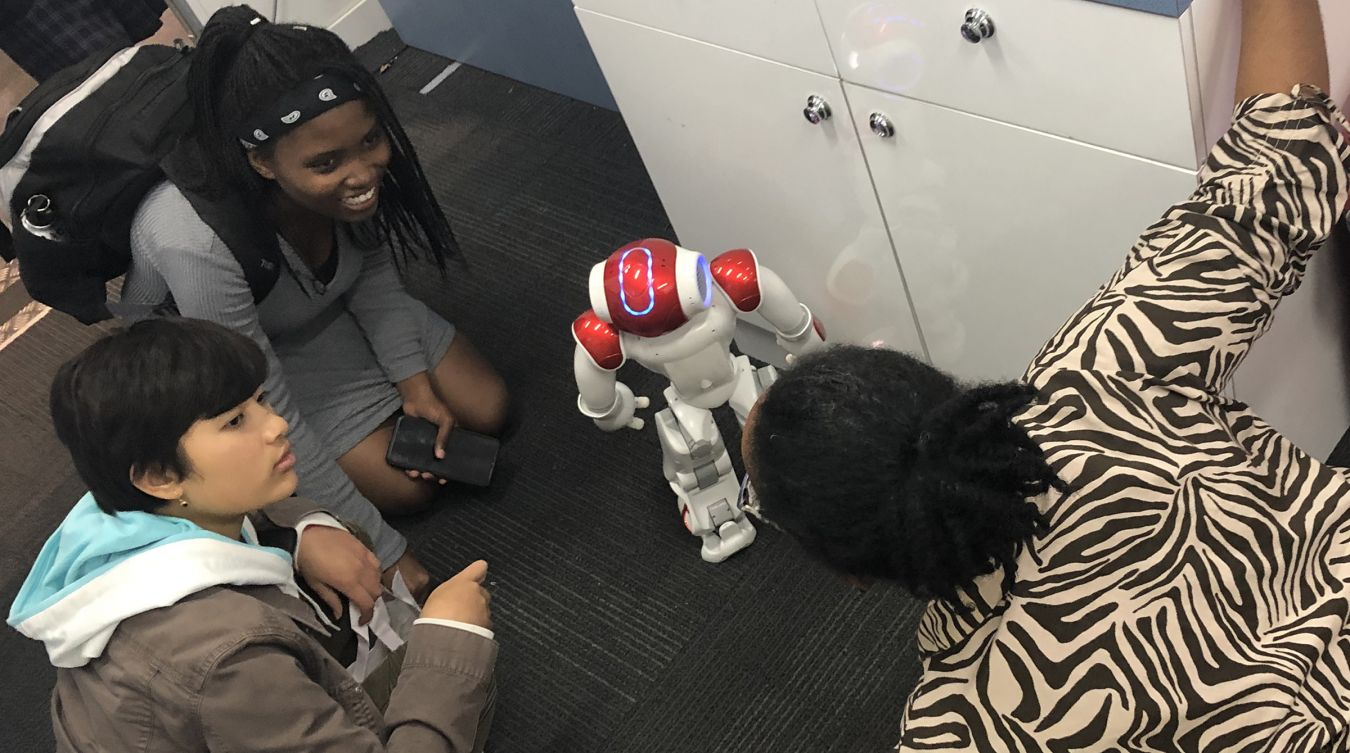 Visitors had the chance to interact with some of the University\'s outreach activities, including NAO the humanoid robot.